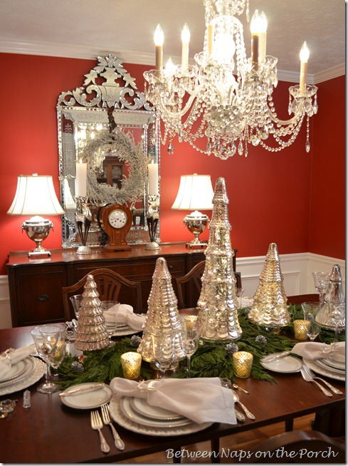 Christmas Tablescape Table Setting with Mercury-glass and Cedar Centerpiece