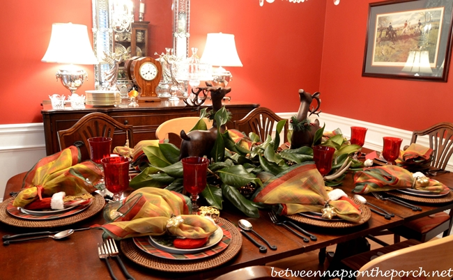 Christmas Tablescape with Woodland Theme