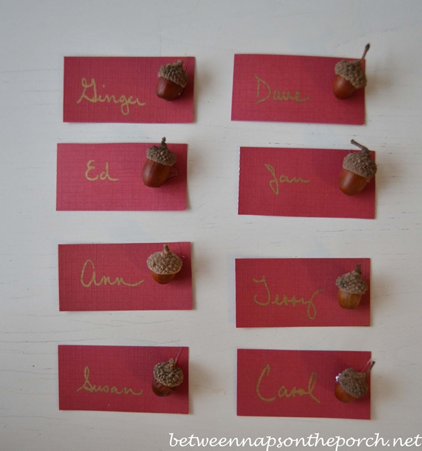 DIY Place Cards for Christmas or Thanksgiving Table Setting