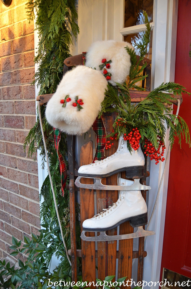 decorate christmas with sled and skates
