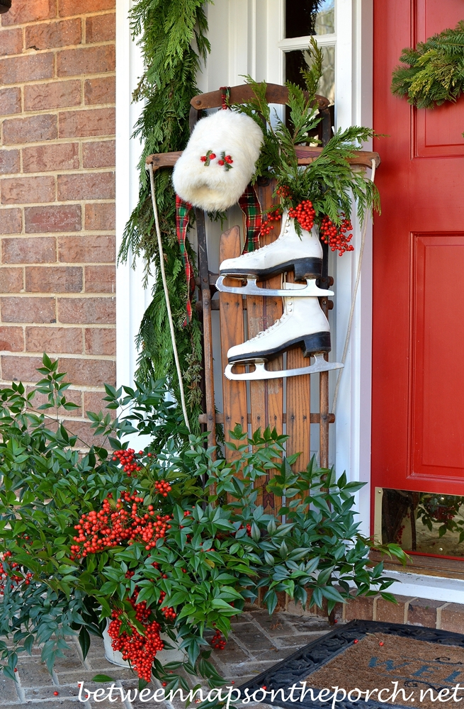 Decorate a Christmas Porch with Sled, Skates and Muff