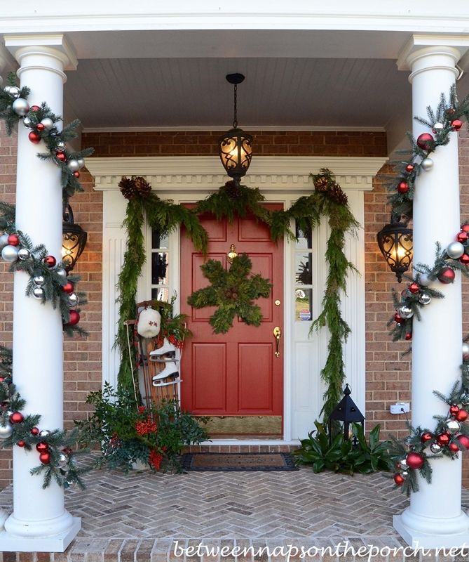 Decorating the Porch for Christmas with Garland, Sled, Ice Skates, Muff  and Snowflake Wreath