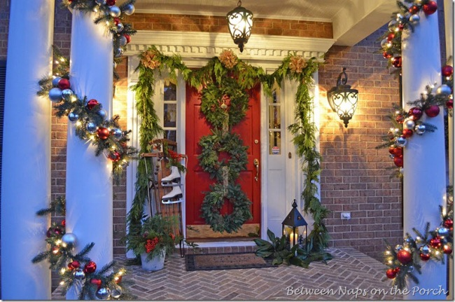 Front-Porch-Decorated-for-Christmas-with-Three-Wreaths-on-Door-and-Pottery-Barn-Knock-off-Garland