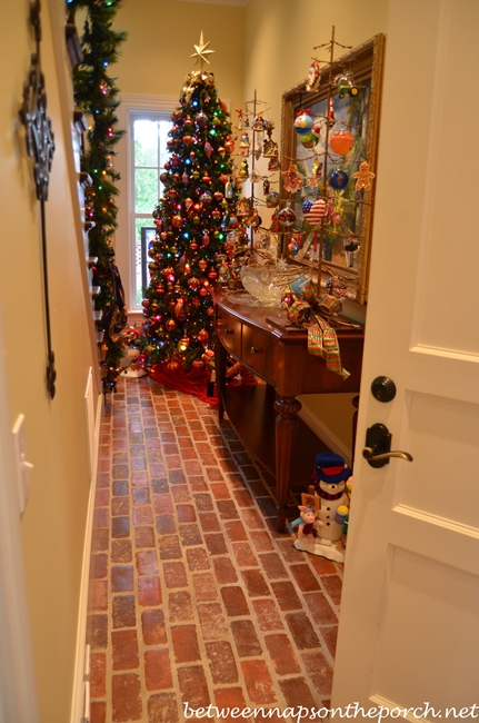 Hall Decorated for Christmas