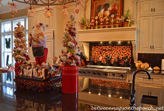 Kitchen Decorated for Christmas with Peppermint Candy, Gingerbread ...