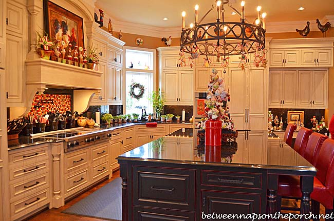 Kitchen Decorated for Christmas with Peppermint Candy, Gingerbread