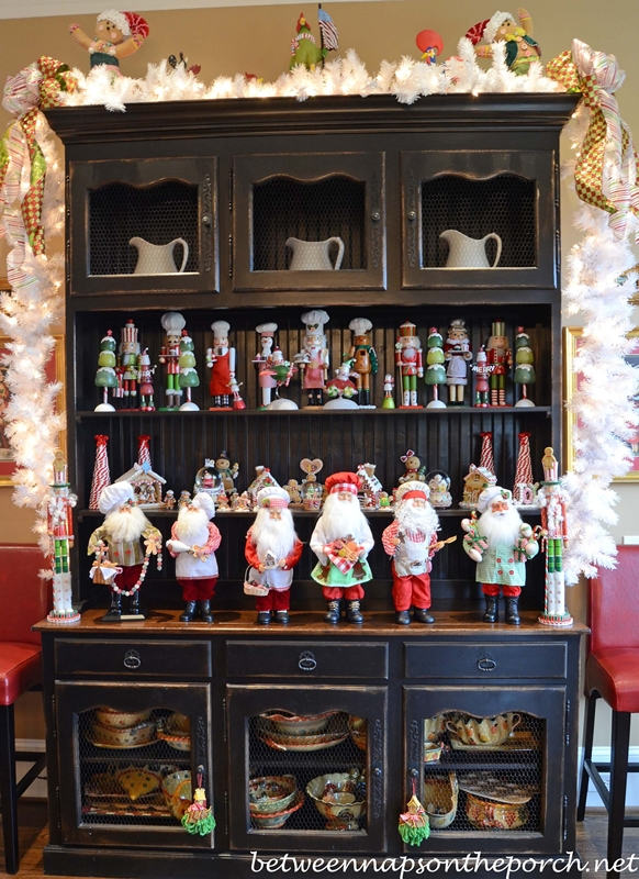 Kitchen Hutch with Santas