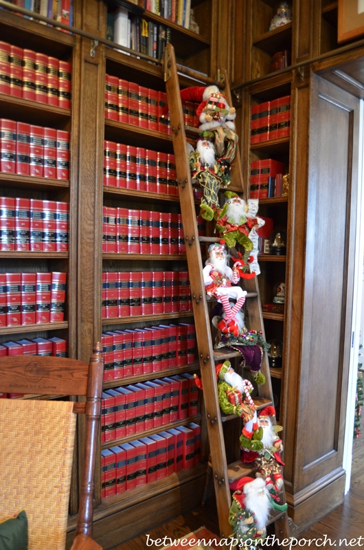 Library Steps in Study Decorated with Elves and Santas for Christmas
