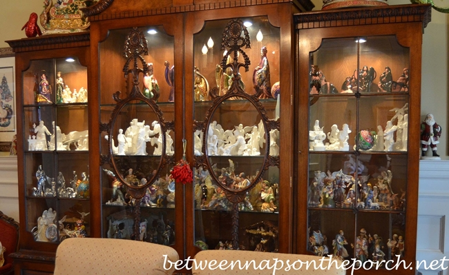 Nativity Collection Displayed in China Cabinet
