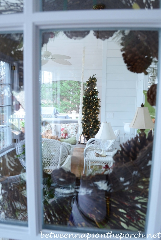 Christmas Tree on Screened in Porch