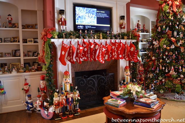 Hand-Made Stockings Hung on Mantel