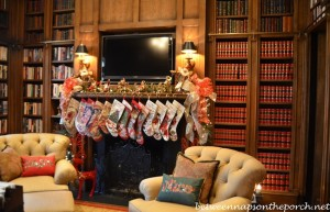 Christmas Mantel in Study Library