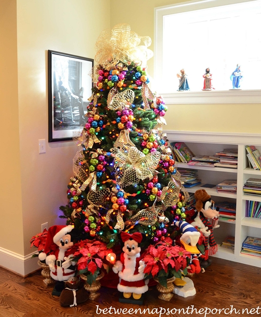 Christmas Tree in Upstairs Hallway with Whimsical Theme