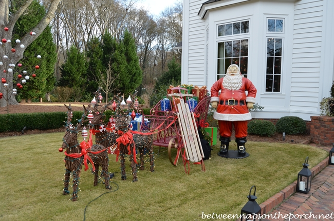 Large Outdoor Santa with Sled and Reindeer for the Lawn for Christmas Decorating