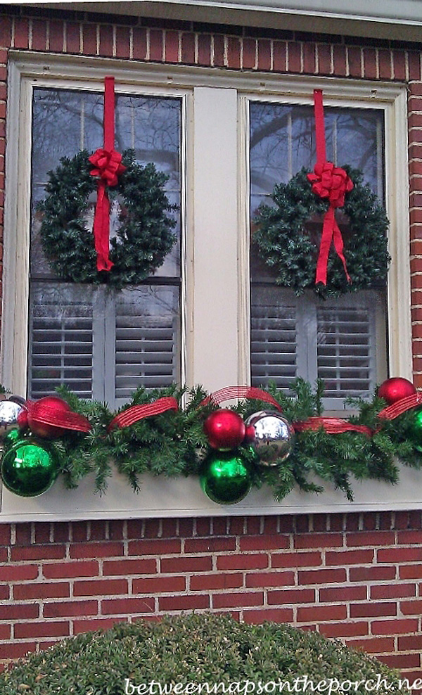 Windowboxes Decorated For Christmas