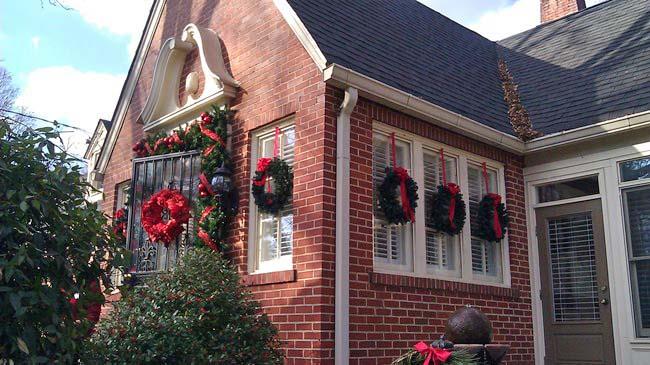 Wreaths hung on windows