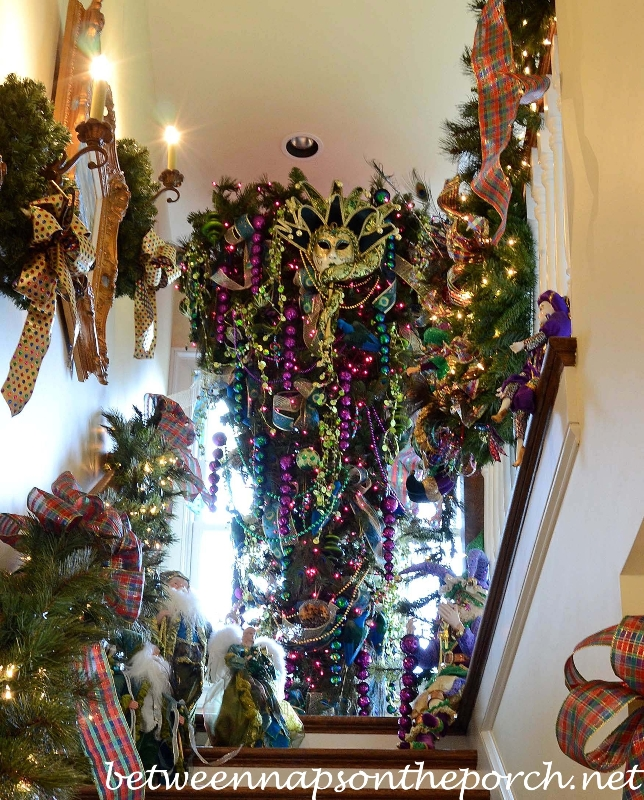 Mardi Gras Upside Down Christmas Tree