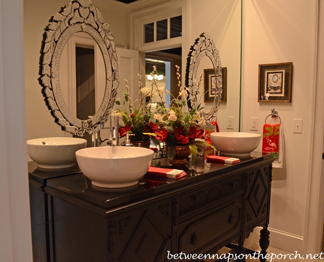 Bathroom with Vessel Sinks on Antique Dresser_wm