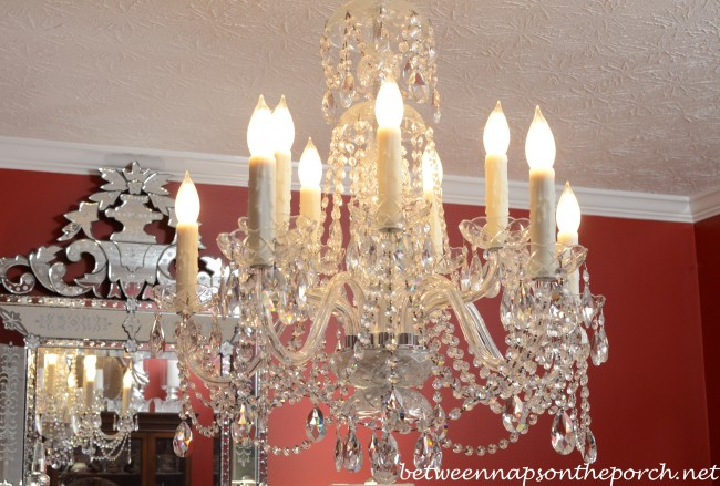Chandelier-with-Resin-Candle-Covers and Silk Wrapped Bulbs