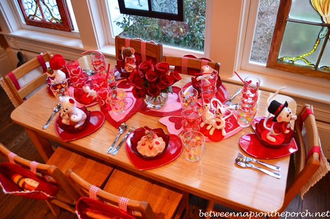 Children's Valentine's Day Table Setting Tablescape