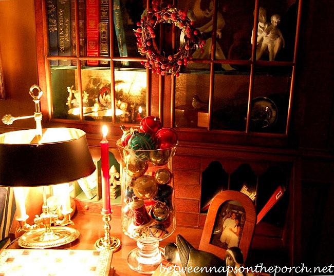 Christmas Decorations on Double-Bonnet Secretary