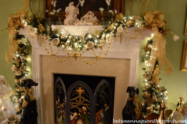 Christmas Mantel In Master Bedroom