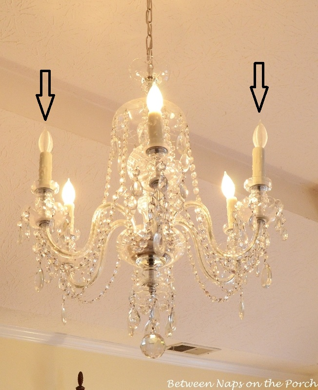 Crystal Chandelier With Resin Candle Covers And Silk Wrapped Bulbs