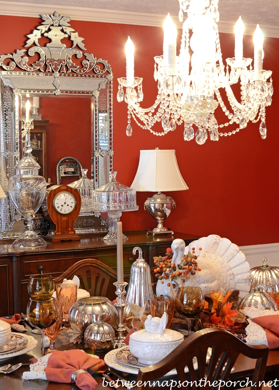 Dining-Room-Chandelier-with-Resin-Candle-Covers-and-Silk-Wrapped-Bulbs