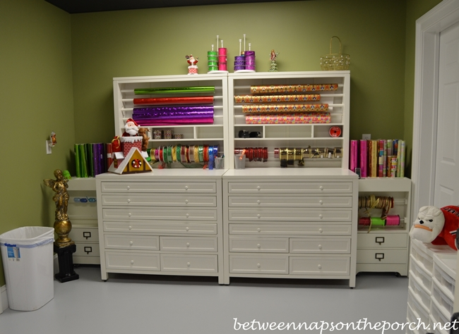 Gift Wrapping Room With Martha Stewart Craft Gift Wrap Hutch And Flat File Part 64