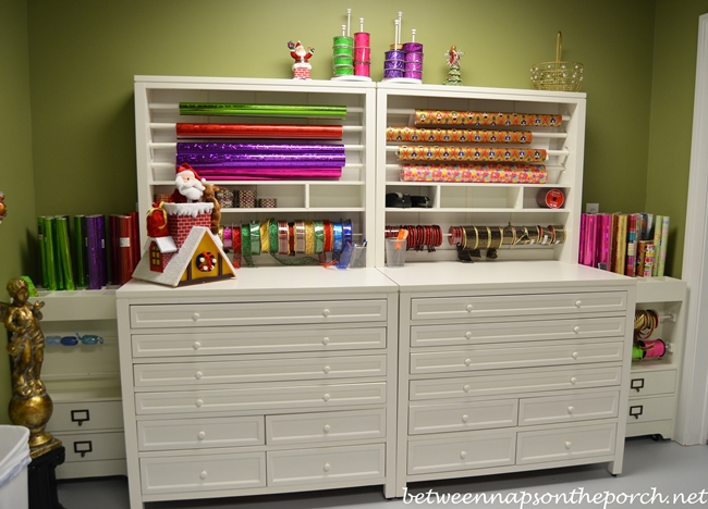 Gift wrapping room with martha stewart craft gift wrap for Martha stewart craft organizer