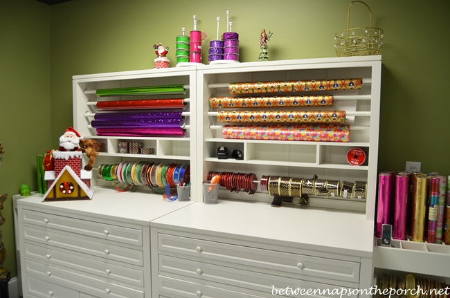 Gift-Wrapping Room with Martha Stewart  Craft Gift-Wrap Hutch and Flat-File Cabinet