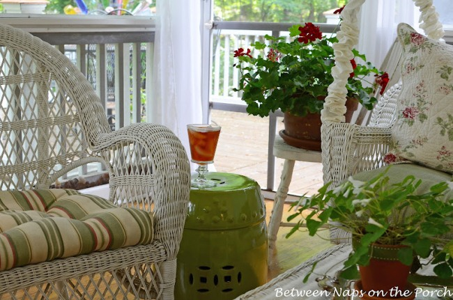 Green Ceramic Garden Seat for Screened-in Porch