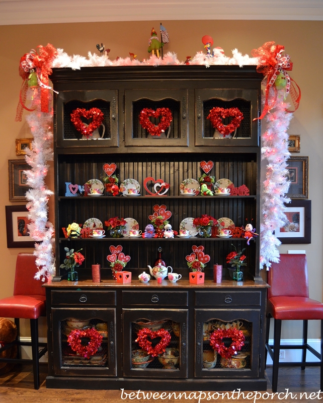 Hutch Decorated fro Valentine's Day