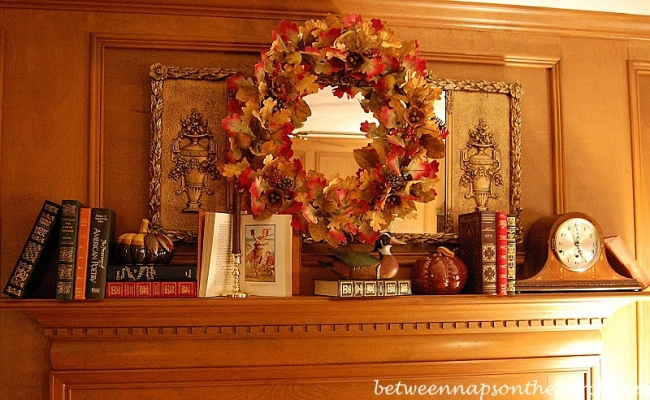 Mantel decorated for autumn