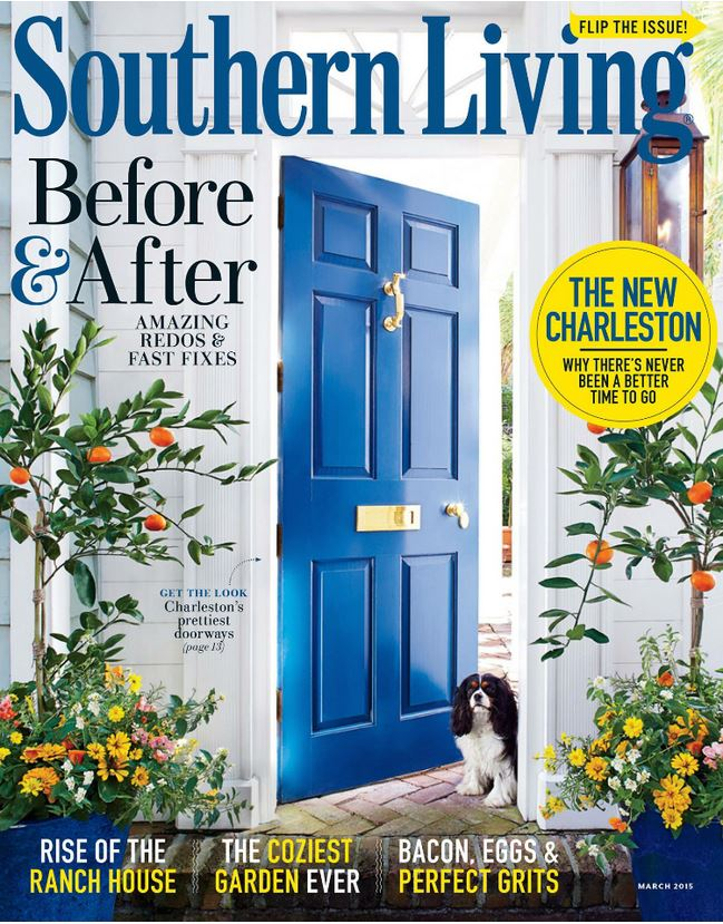 March 2015 Southern Living Magazine with Polished Brass on a Charleston Door