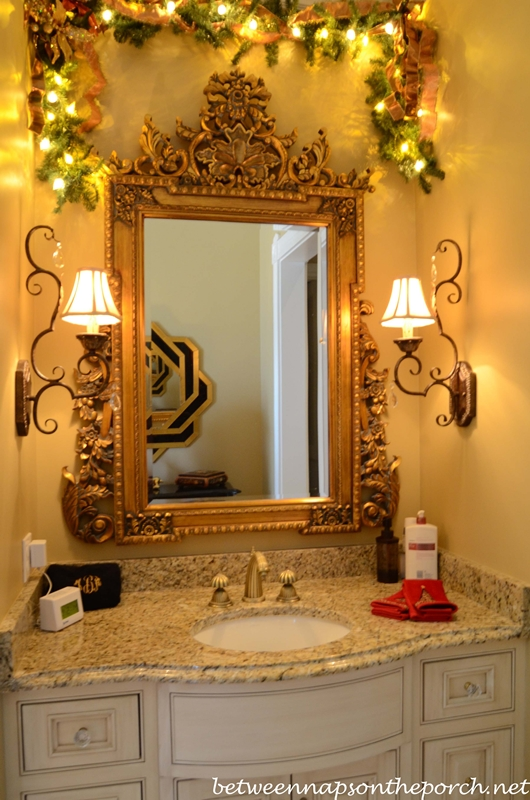 Master Bath Decorated with Lit Garland