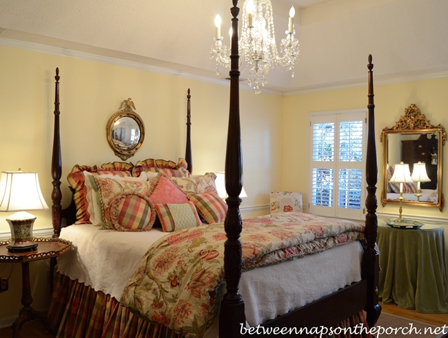 Master Bedroom with Crystal Chandelier with Resin Candle Covers and Silk-Wrapped Bulbs