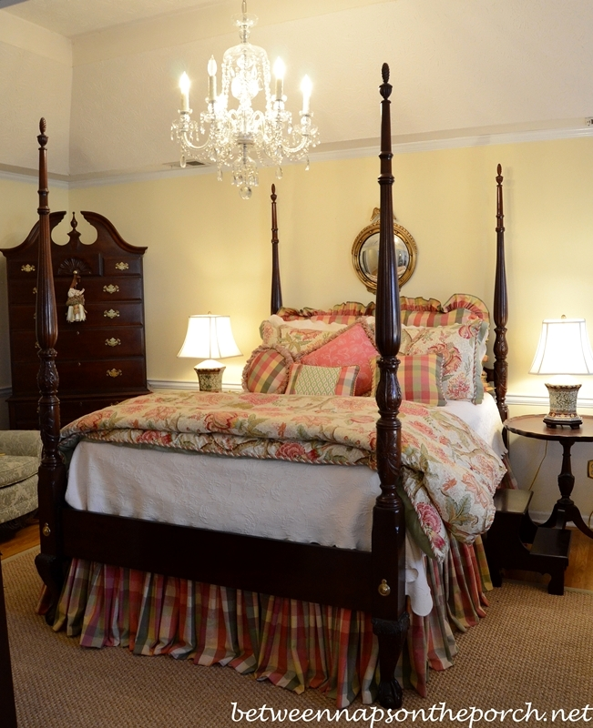 Four-Post Bed with Plaid Bedskirt