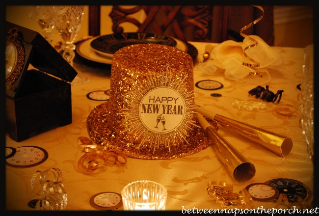 New Year's Table Setting with Pottery Barn Clock Plates