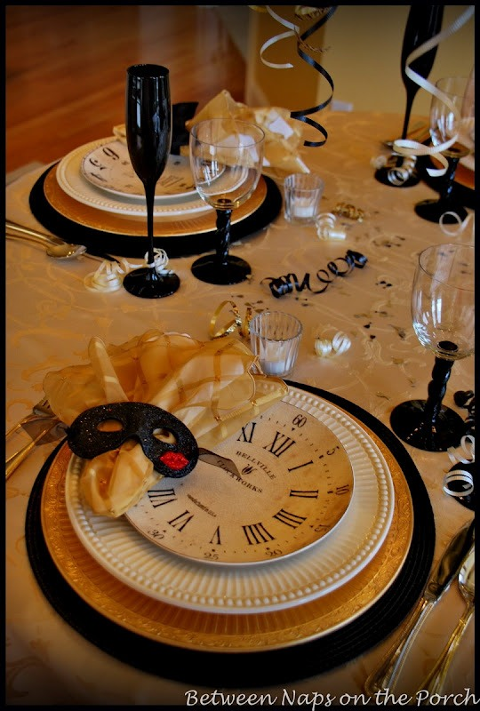 A New Year S Table Setting With Pottery Barn Clock Plates