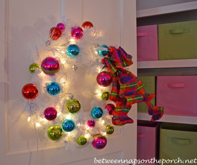 White Wreath with Pink, blue and Green Ornaments for Little Girl's Bedroom