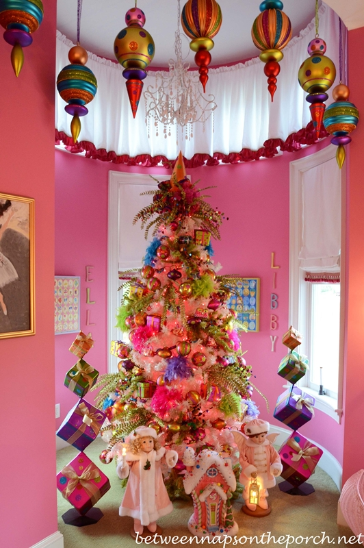 Pink Girl's Bedroom Decorated with Whimsical Christmas Tree