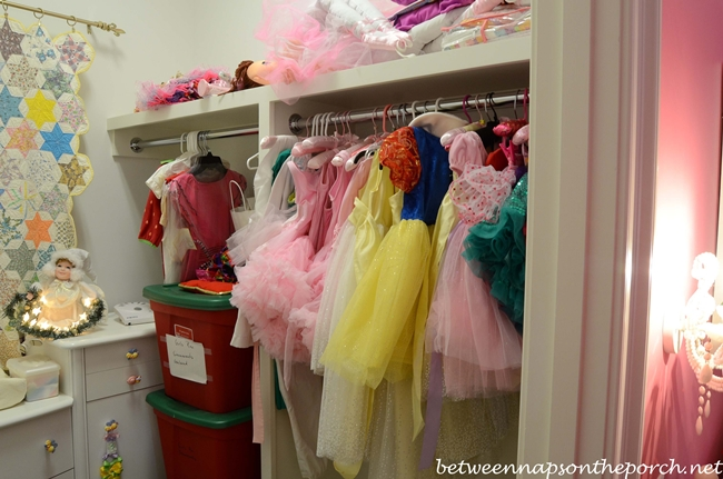 Storage for Dress-up Clothes in the Closet in Girl's Bedroom
