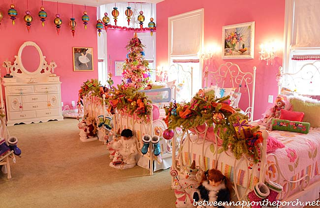Pink-Girls-Bedroom-with-Pottery-Barn-Beds-and-Shades-of-Light-Chandelier-and-Sconces-1