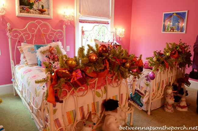 Pink Girl's Bedroom with Pottery Barn Beds and Shades of Light Chandelier and Sconces