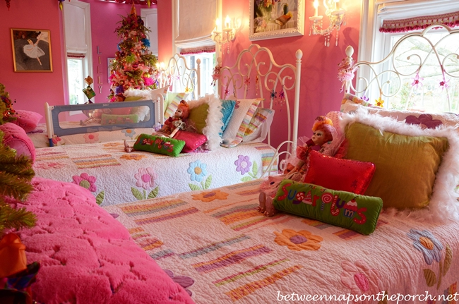Pink Girl's Bedroom with Pottery Barn Beds and Flowered Bedding