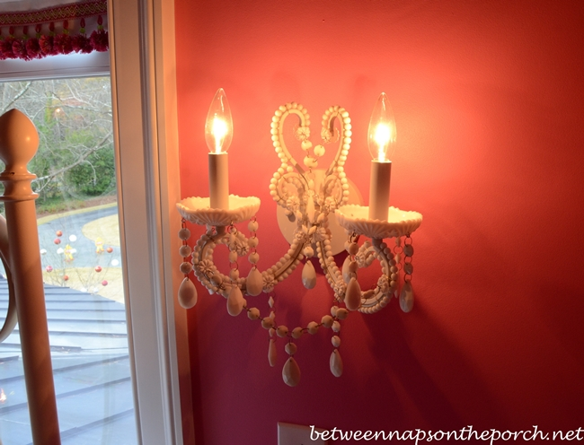 Shades of Light Wall Sconce in Pink Girl's Bedroom with Pottery Barn Beds
