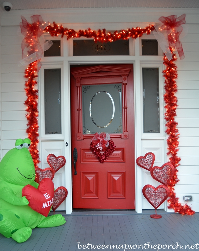 Red Door Decorated for Valentine's Day
