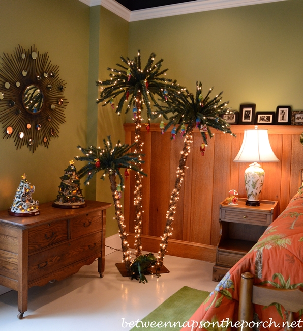Bedroom with Palm Trees Decorated for Christmas