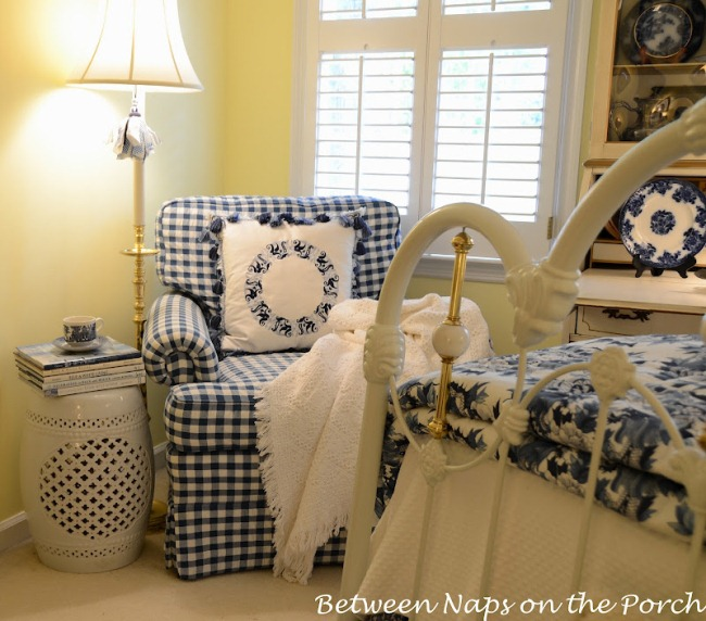 White Ceramic Garden Seat in a Blue and White Room